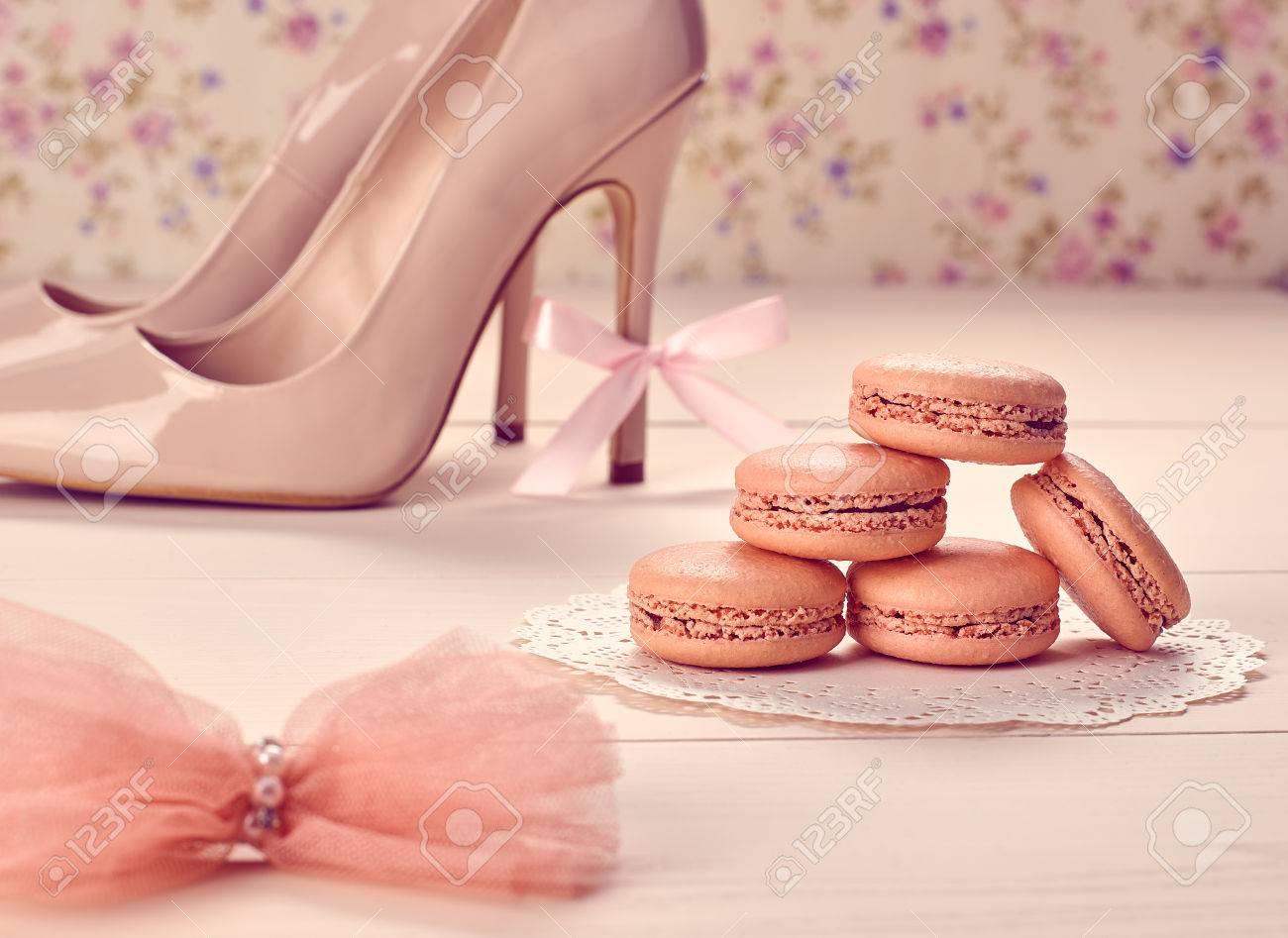 Woman Essentials Fashion Accessories. Macarons French Dessert ...