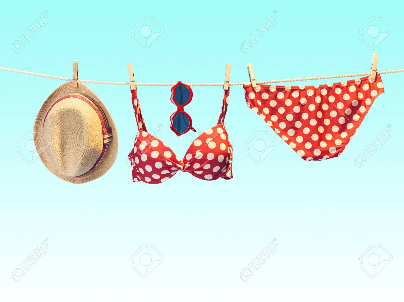 d91c784fd4602 Summer clothes and accessories stylish set. Fashion swimsuit bikini red  polka dots
