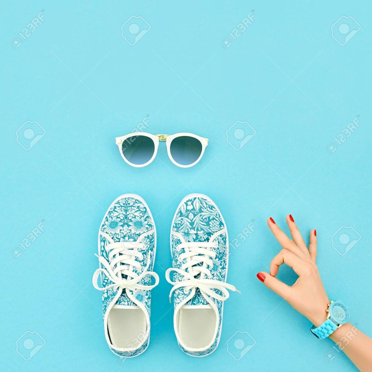 Fashion. Clothes Accessories Fashion Set. Female Hand OK Gesture ...