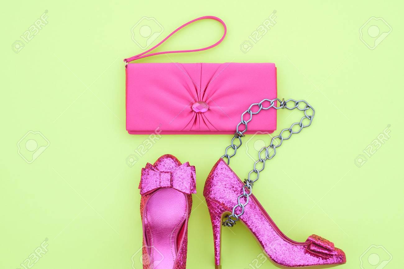 4b5531def069 Clothes Accessories fashion Set. Stylish woman Handbag clutch and Glamor  Trendy Heels.