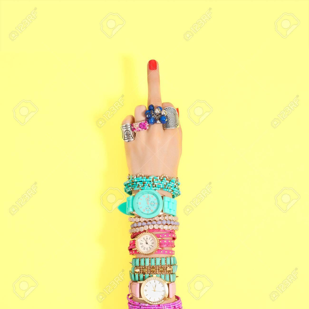 Fashion. Accessories Fashion Set. Female Hand Middle Finger ...