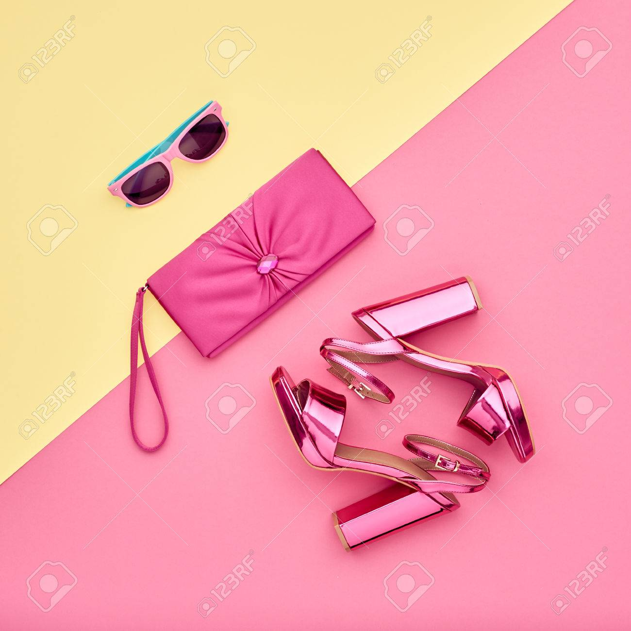 Fashion Accessories Set. Minimal. Glamor fashion Metallic Pink shoes Heels.  Trendy Sunglasses fashionable 144c9443914a