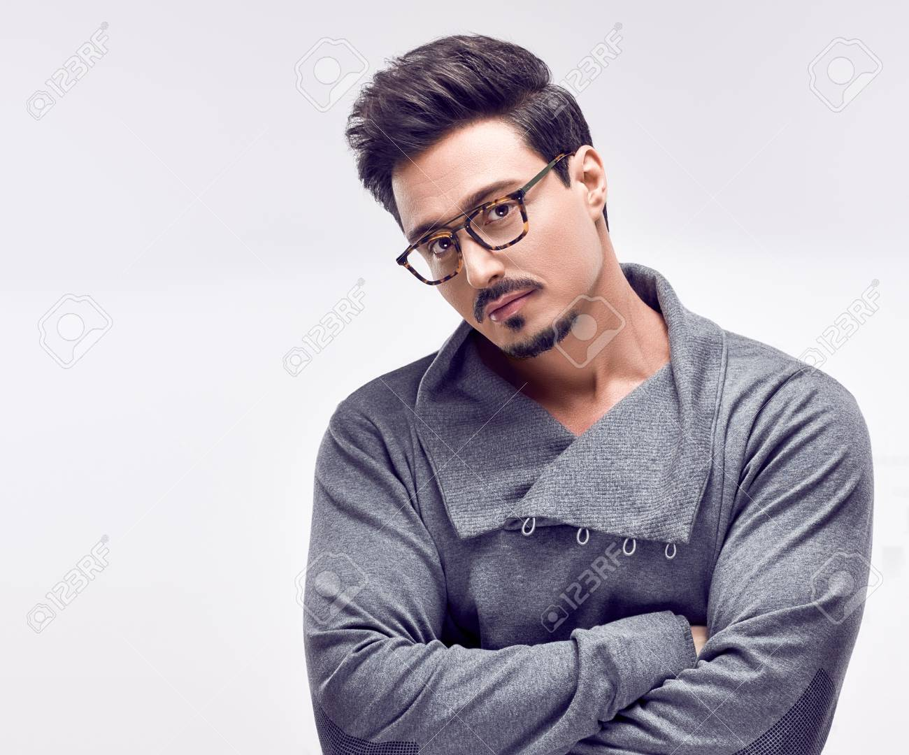 ef1e12567d4d Studio fashion portrait on white background. Handsome young Fashion guy.  Autumn Trendy Outfit