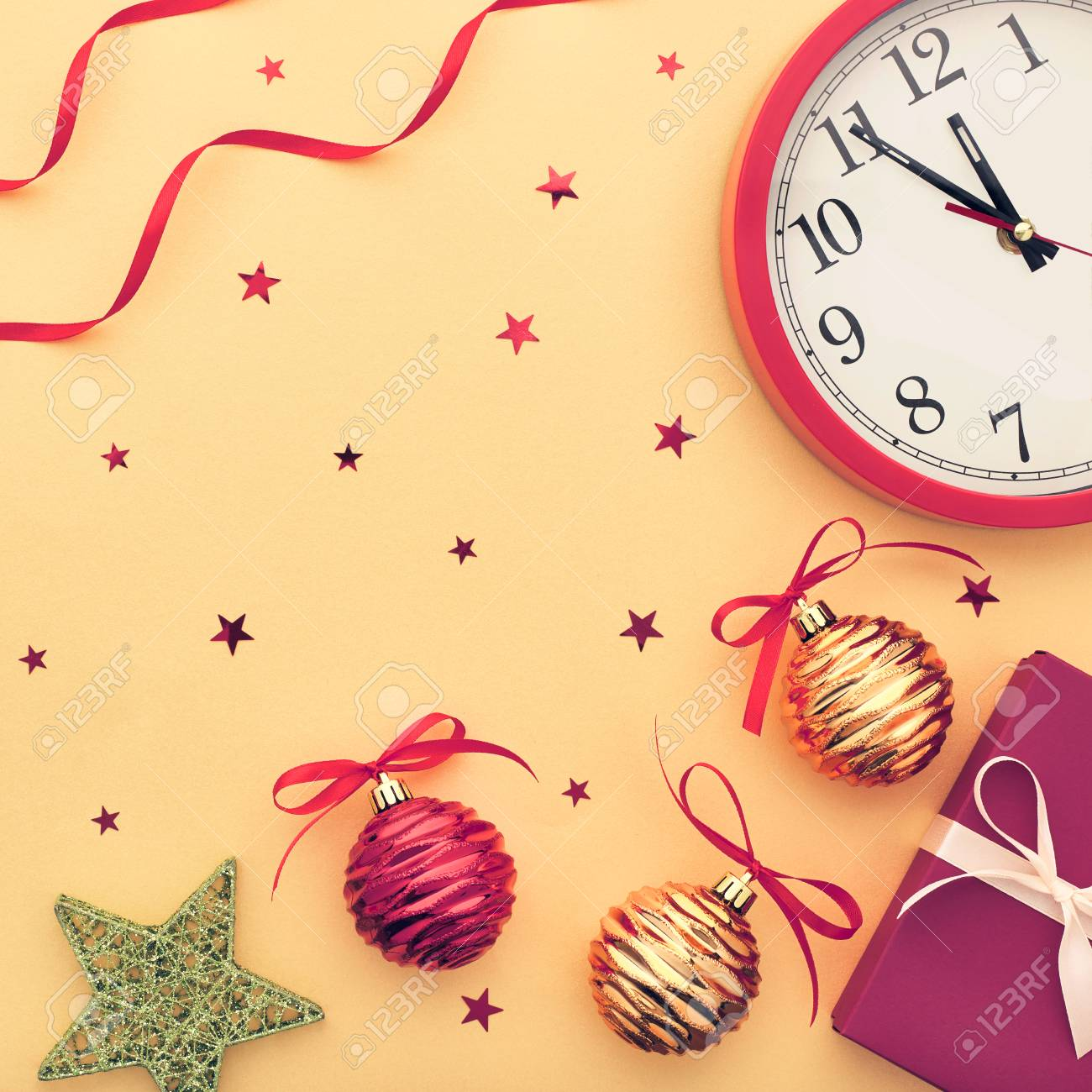 Christmas Background Decoration. New Year Holiday Clock, Gift ...
