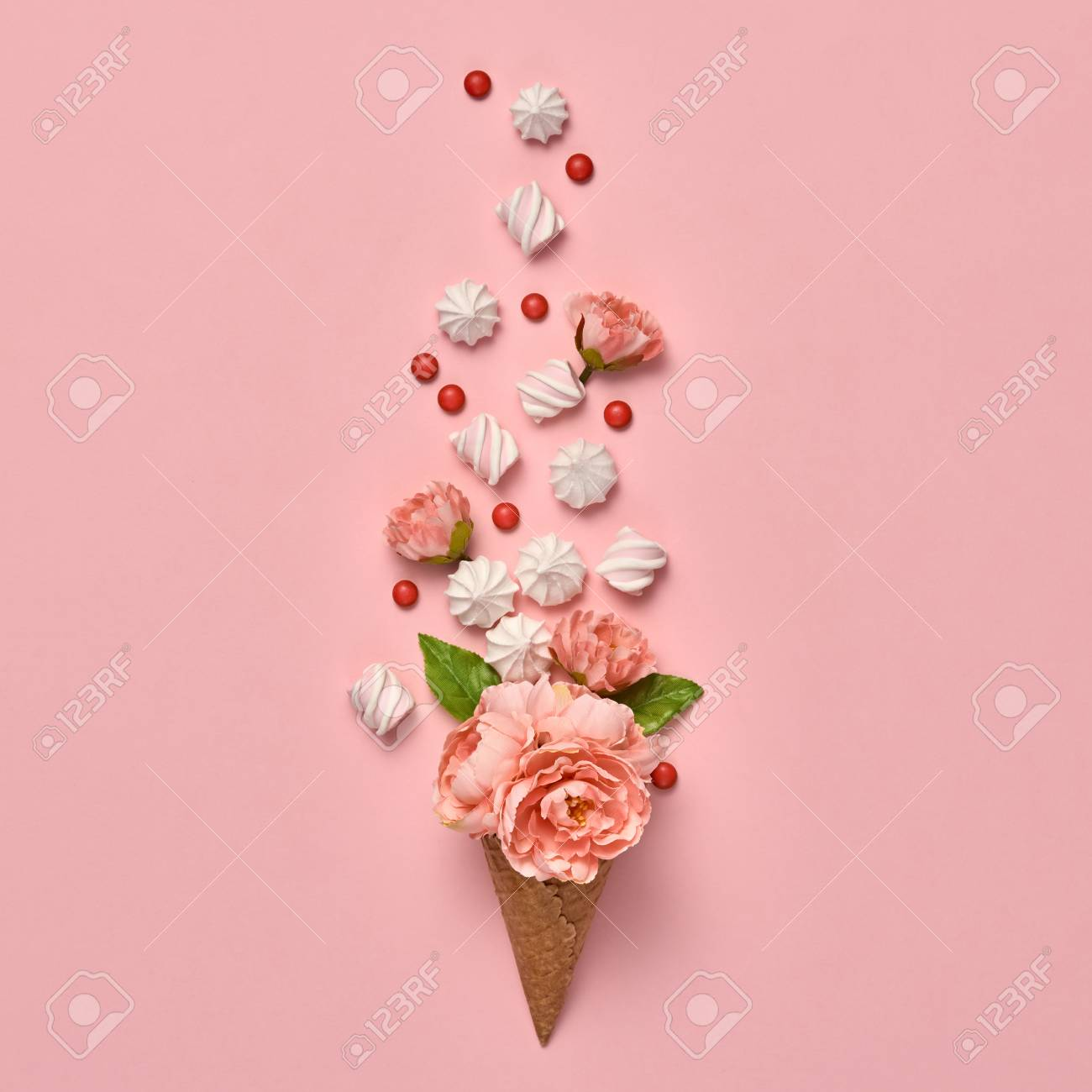 Ice Cream Cone With Candies Sweets. Marshmallow, Meringue, Flowers ...