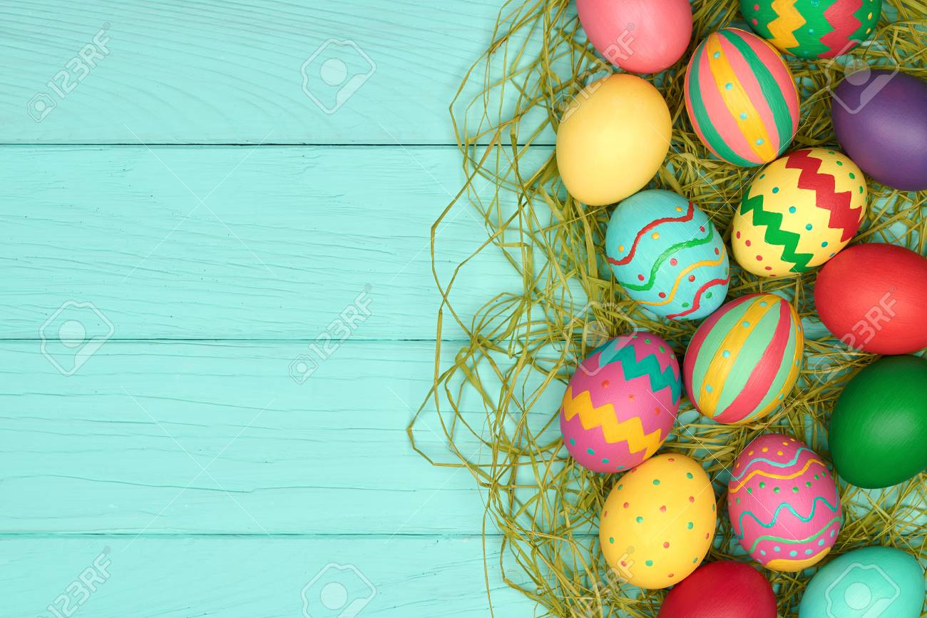 Easter Eggs Background Hand Painted Colorful Decorated Eggs Stock