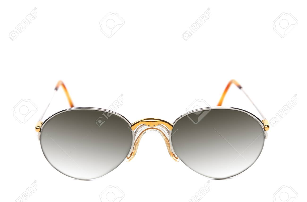 Sunglasses of yellow and white gold on a white background. Stock Photo - 21411943