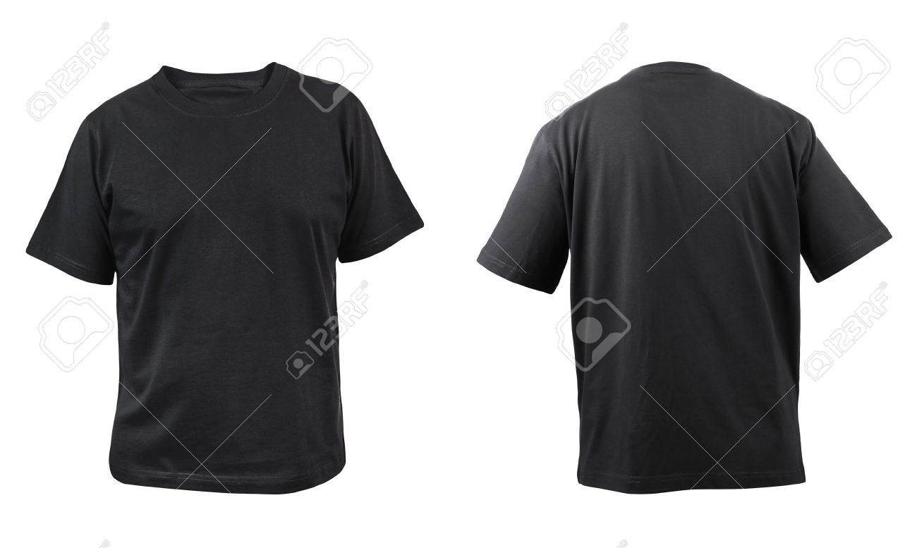 Black t shirt front - Black T Shirt Front And Back View Isolated On A White Background Stock Photo