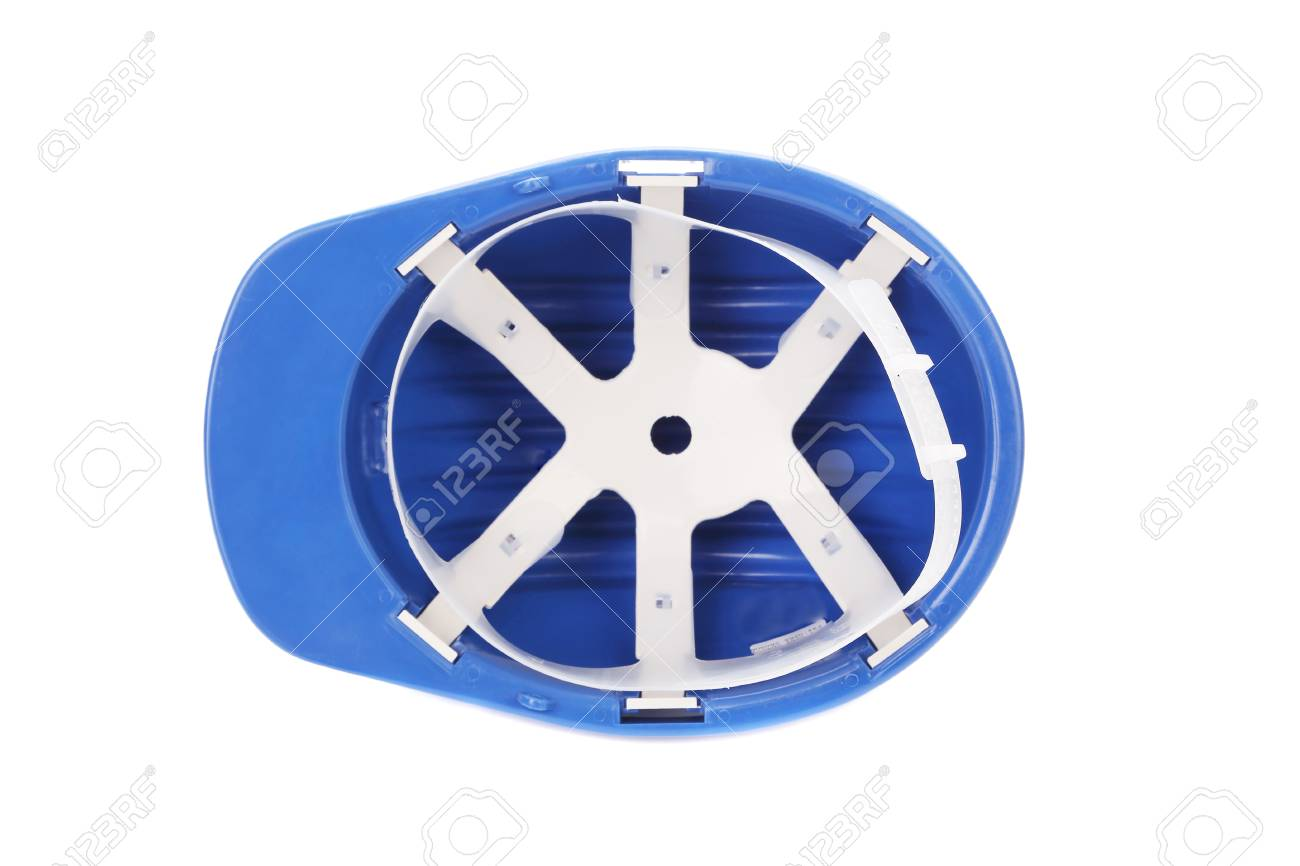 Upside Down View Of Blue Hard Hat Isolated On A White Background