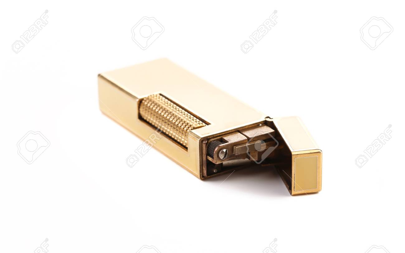 Elegant golden gas lighter. Isolated on a white background. Stock Photo - 22717821