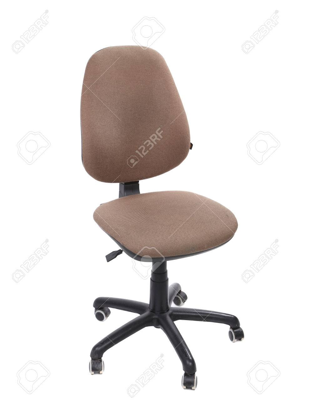 beige color office chair. isolated on a white . stock photo