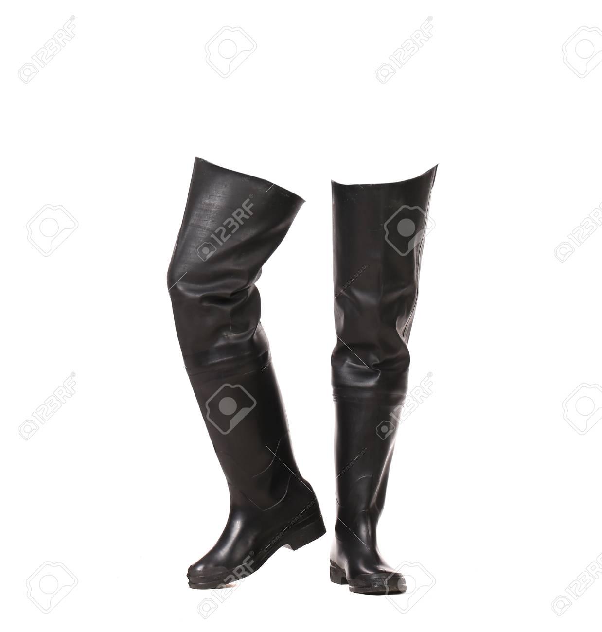 caoutchouc Paire de pêcheIsolé de en blanc bottes fond sur un Y7fyv6gb