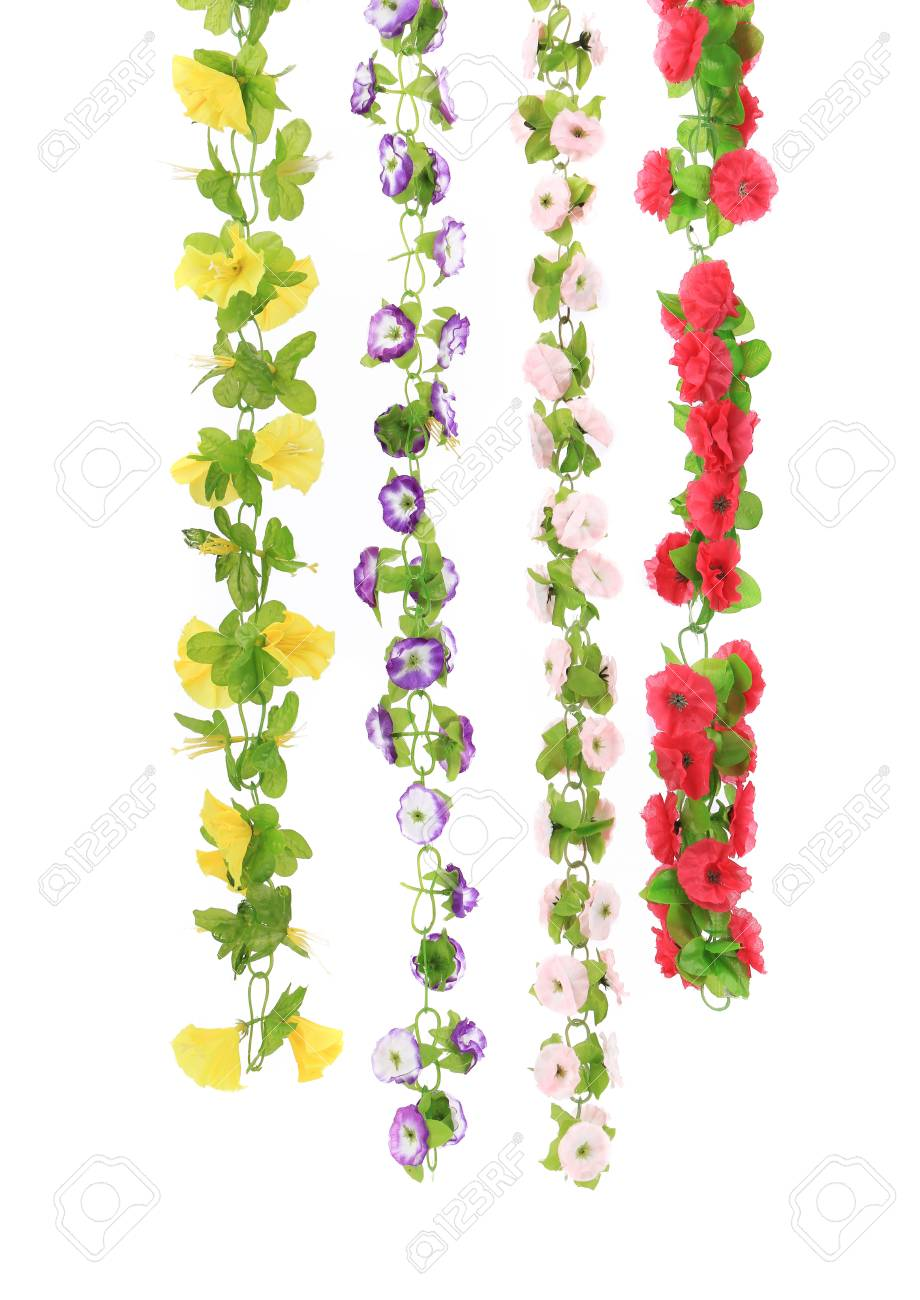 Various Types Of Artificial Flowers Isolated On A White Background