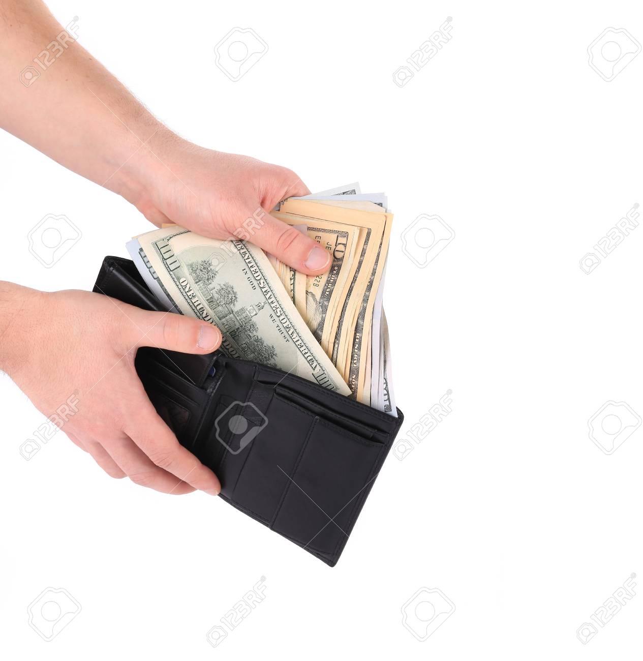 zapatos de temperamento comprar lujo último estilo de 2019 Mano que sostiene la cartera con billetes de dólar.