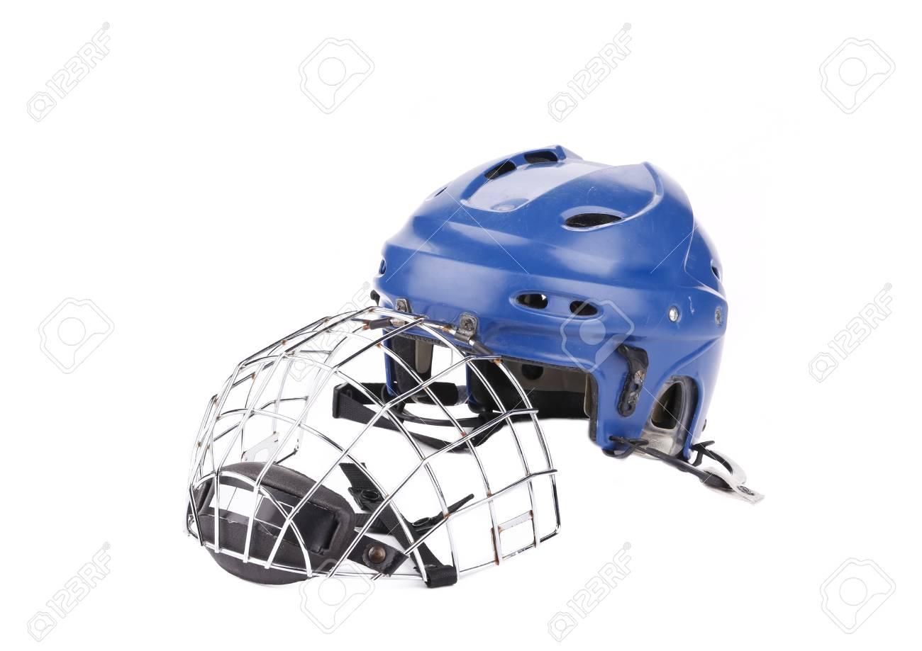 Blue Hockey Goalie Mask Isolated On A White Background Stock Photo