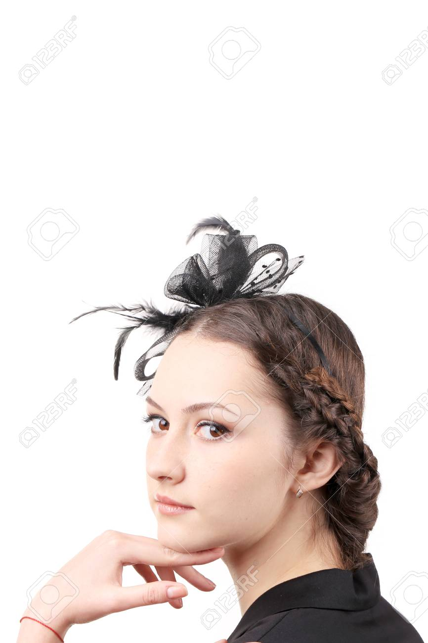 girl with ribbon on head isolated on a white background stock