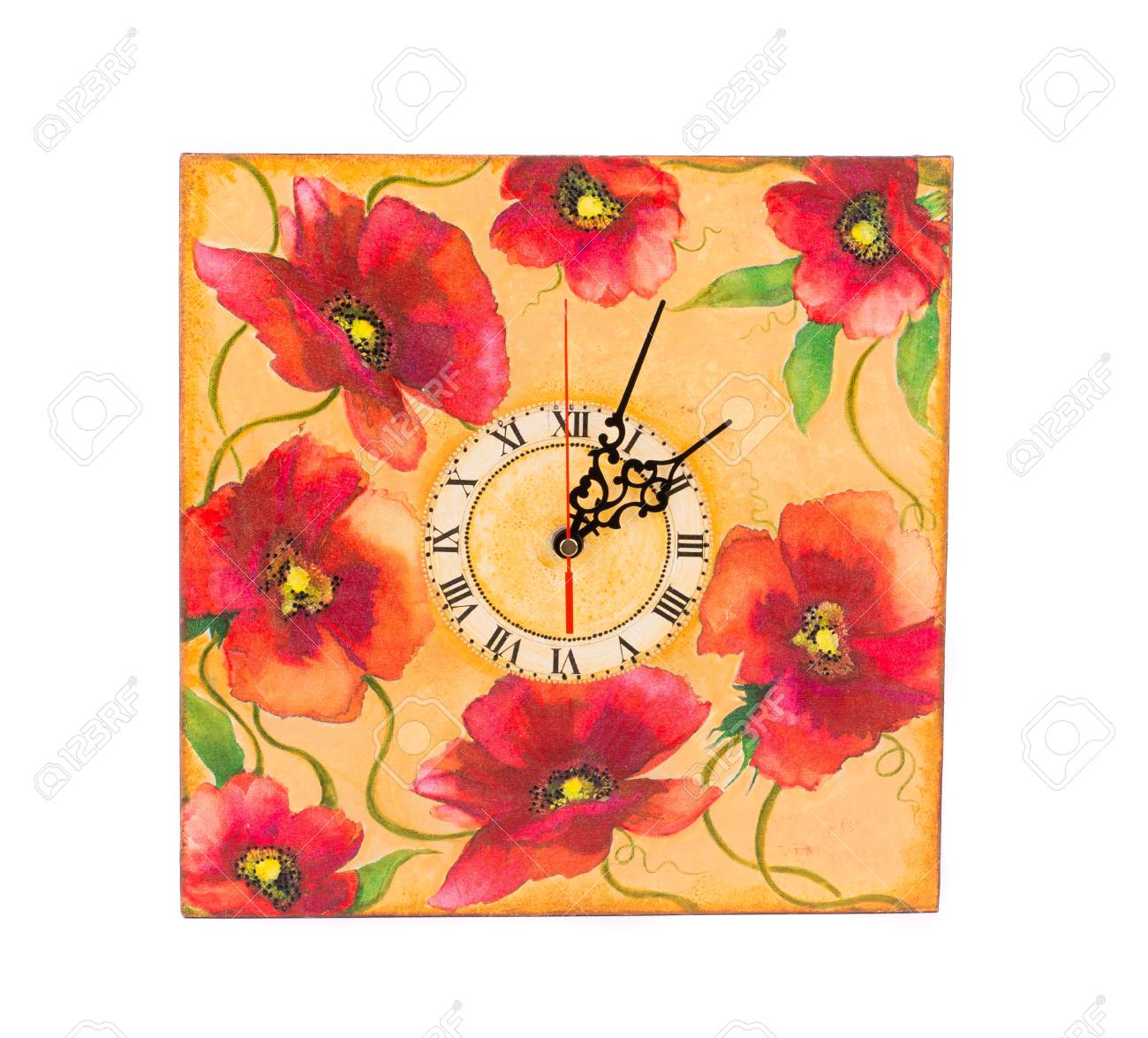 Colorful Wall Clock. Isolated On A White Background. Stock Photo ...