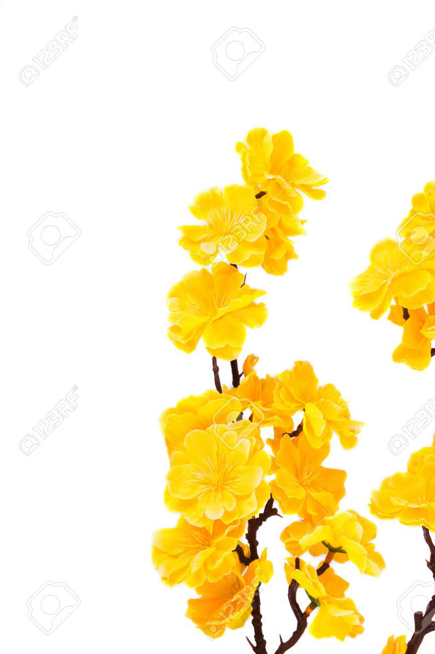 Yellow artificial flowers isolated on a white background stock stock photo yellow artificial flowers isolated on a white background mightylinksfo