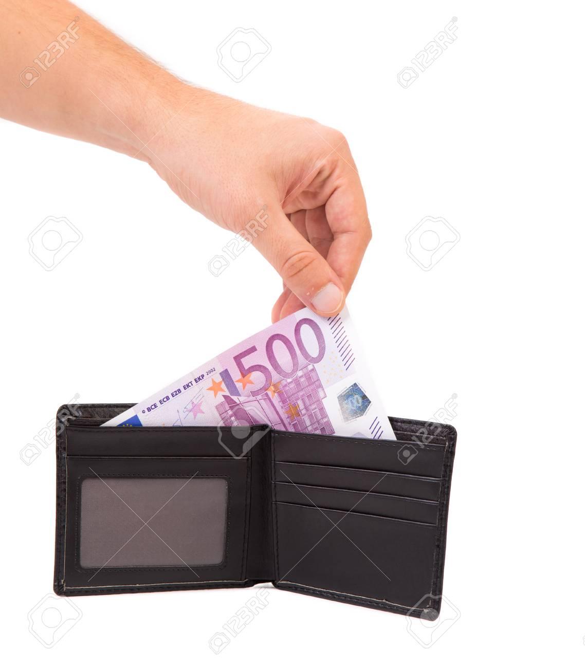 Portemonnee 10 Euro.Hand Houdt Euro Rekeningen In Portemonnee Geisoleerd Op Een Witte