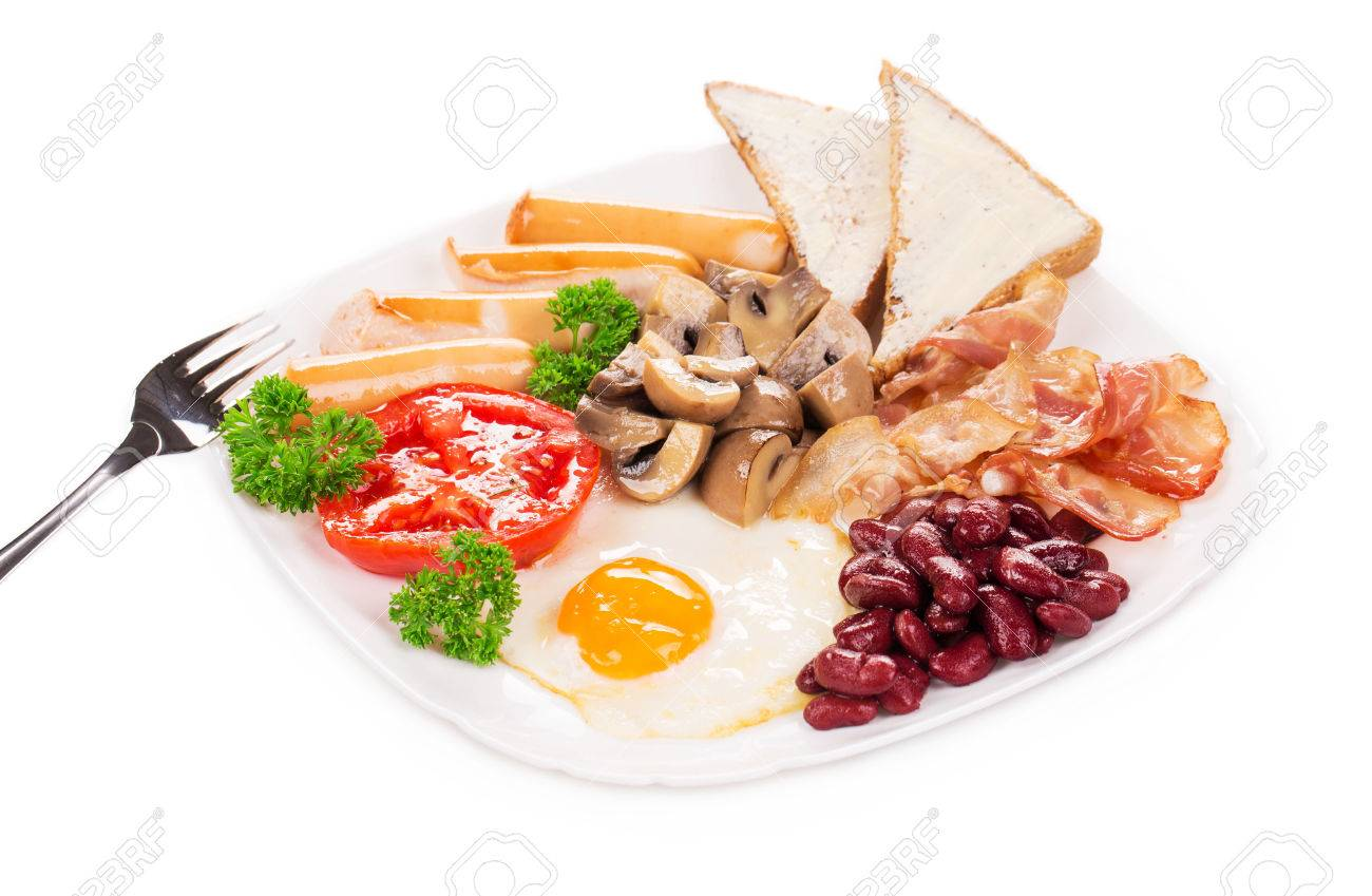 Colazione All'inglese Con Uova Fritte Toast E Insalata Fresca ...