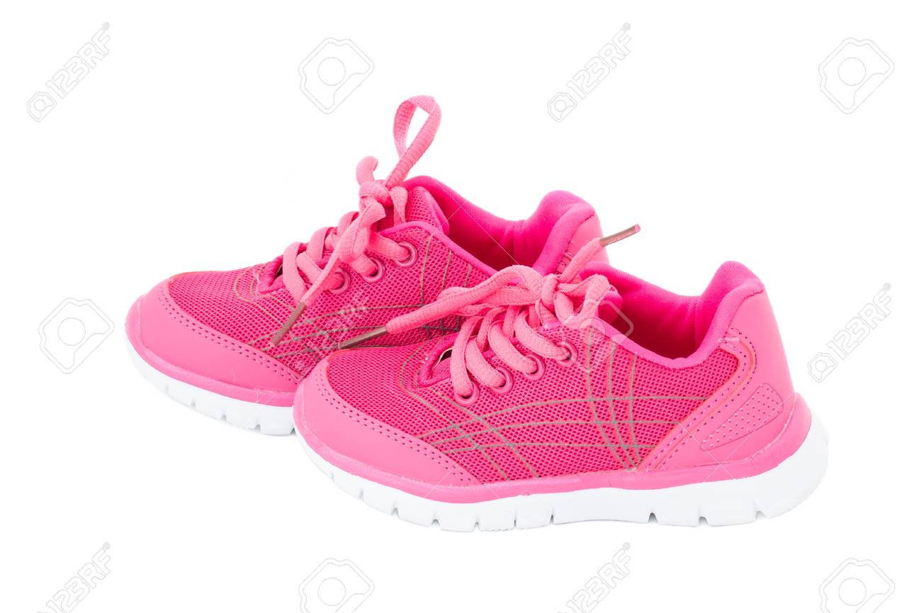 44914b469b2a6 Pair of pink training shoes for girls. Isolated on a white background. Stock  Photo