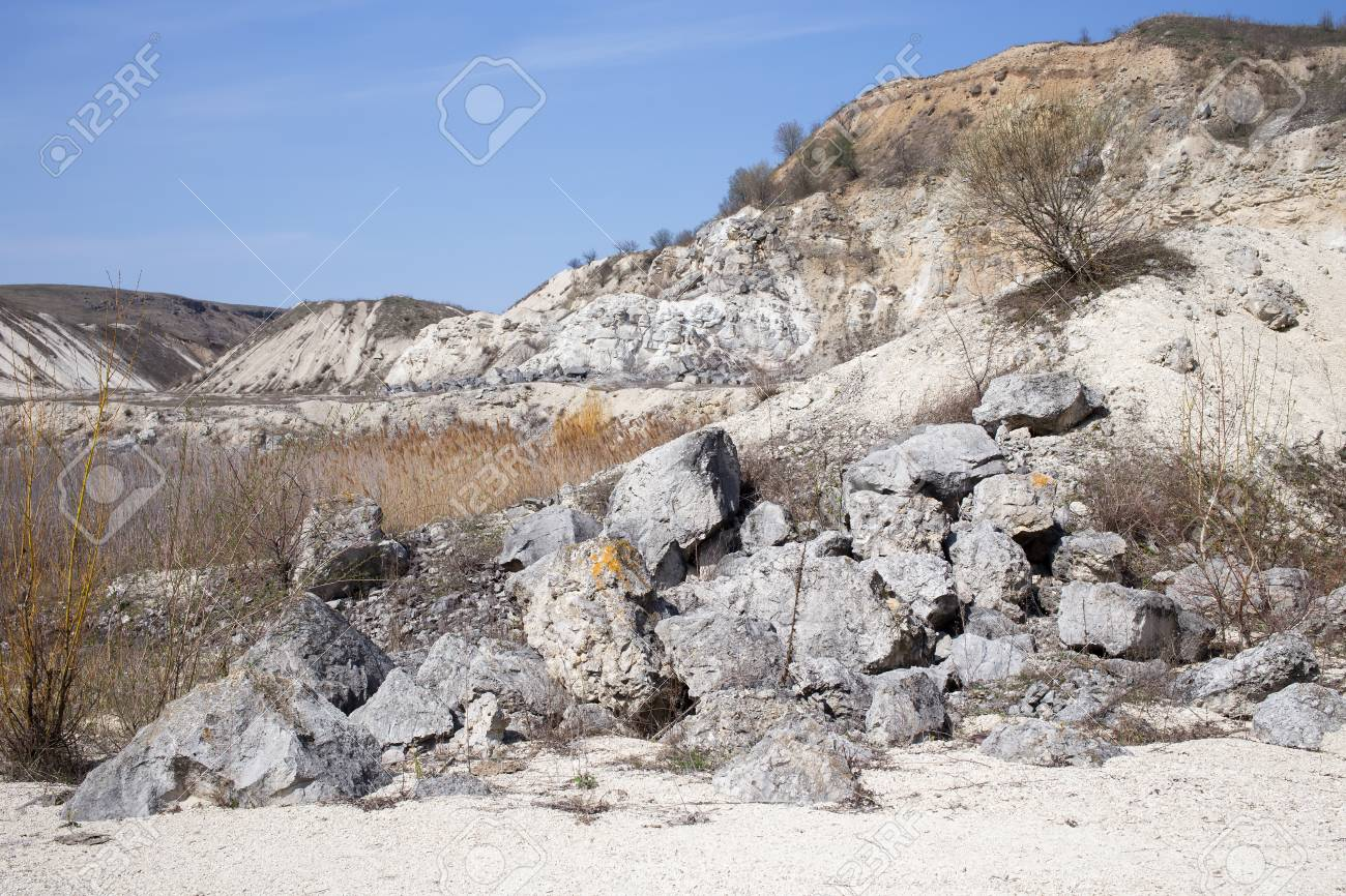 Valley with beautiful view of limestone quarry