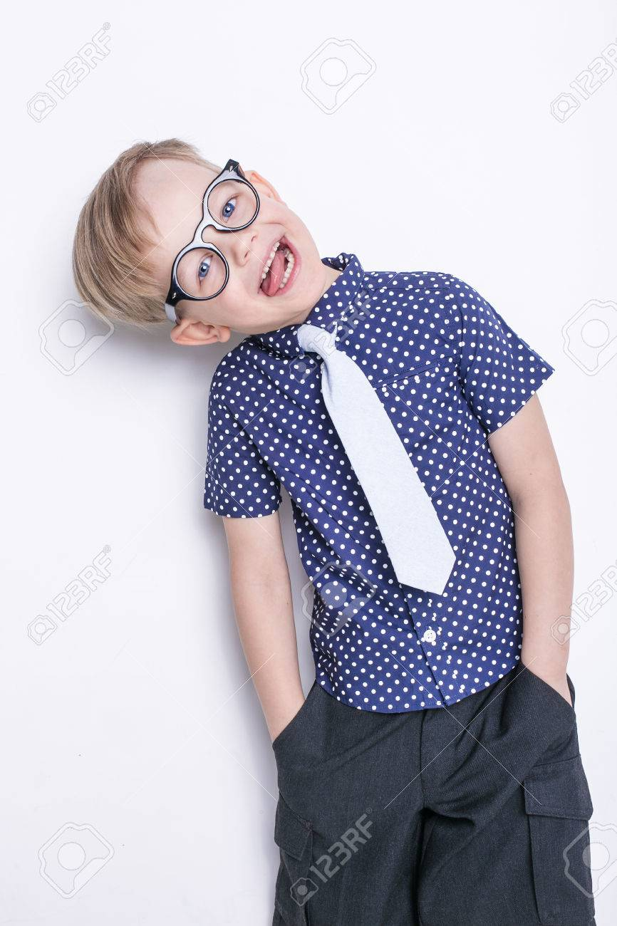 63818b6ecfe Portrait Of A Little Boy In A Funny Glasses And Tie. School... Stock ...