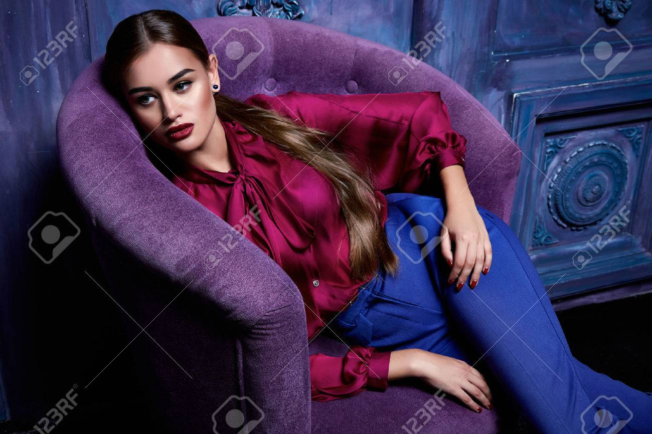 Beautiful young business woman hair evening makeup wearing dress suit top skirt high heels shoes business clothes for meetings walks autumn fall collection perfect body shape make-up - 45878912