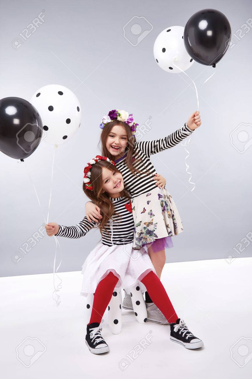 4c54b43f3 Small baby girls sisters in a beautiful style fashion clothes collection of dress  suit silk skirt