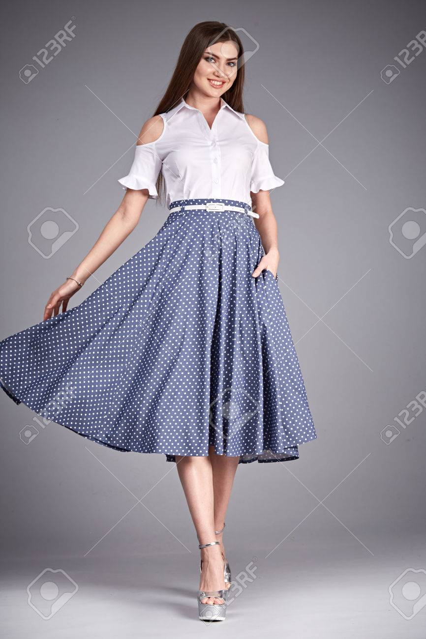 44b9da2824 Beautiful woman wear skirt and blouse silk cotton fashion clothes catalog  casual for party meeting office