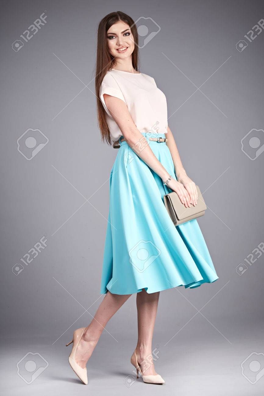 Beautiful Woman Wear Skirt And Blouse Silk Cotton Fashion Clothes ...