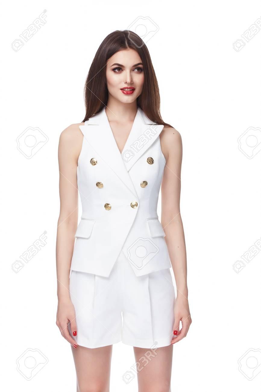 Schöne Glamour Sexy Frau Dunkel Brünette Haare Kurz Weiße Baumwolle ...