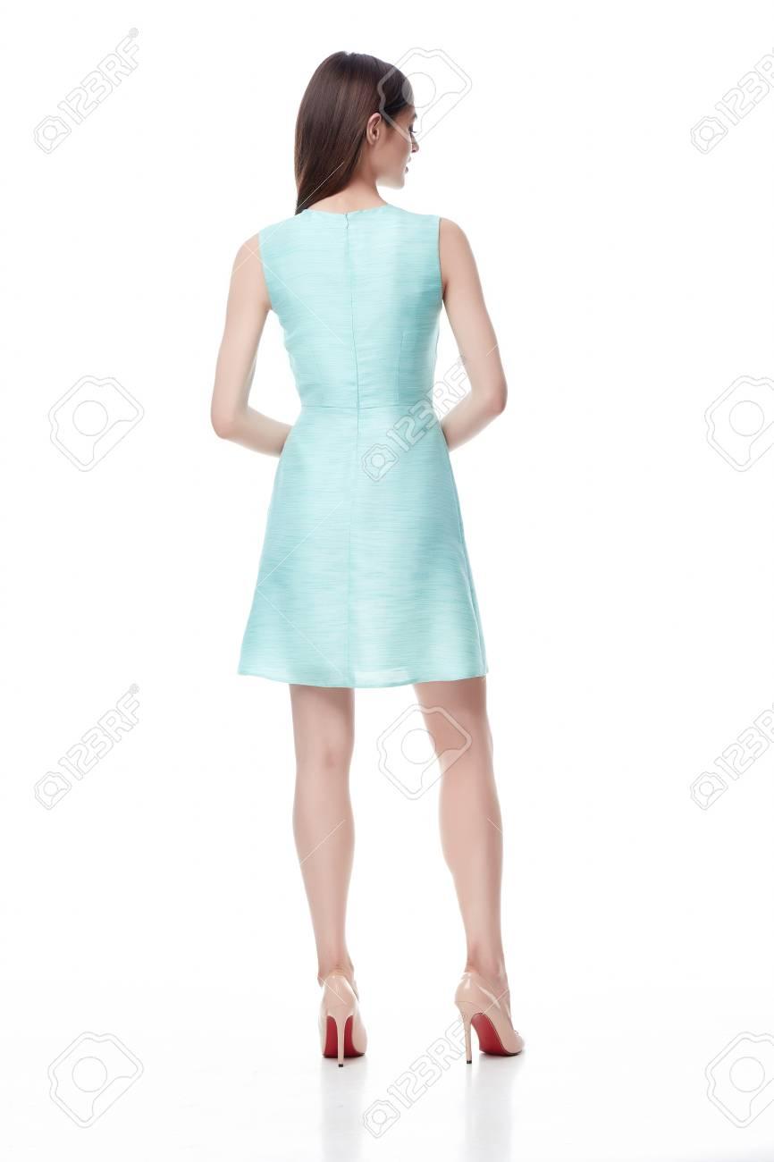 Schöne Mode-Modell Tragen Seide Hellblauen Kurzen Kleid Für Partei ...