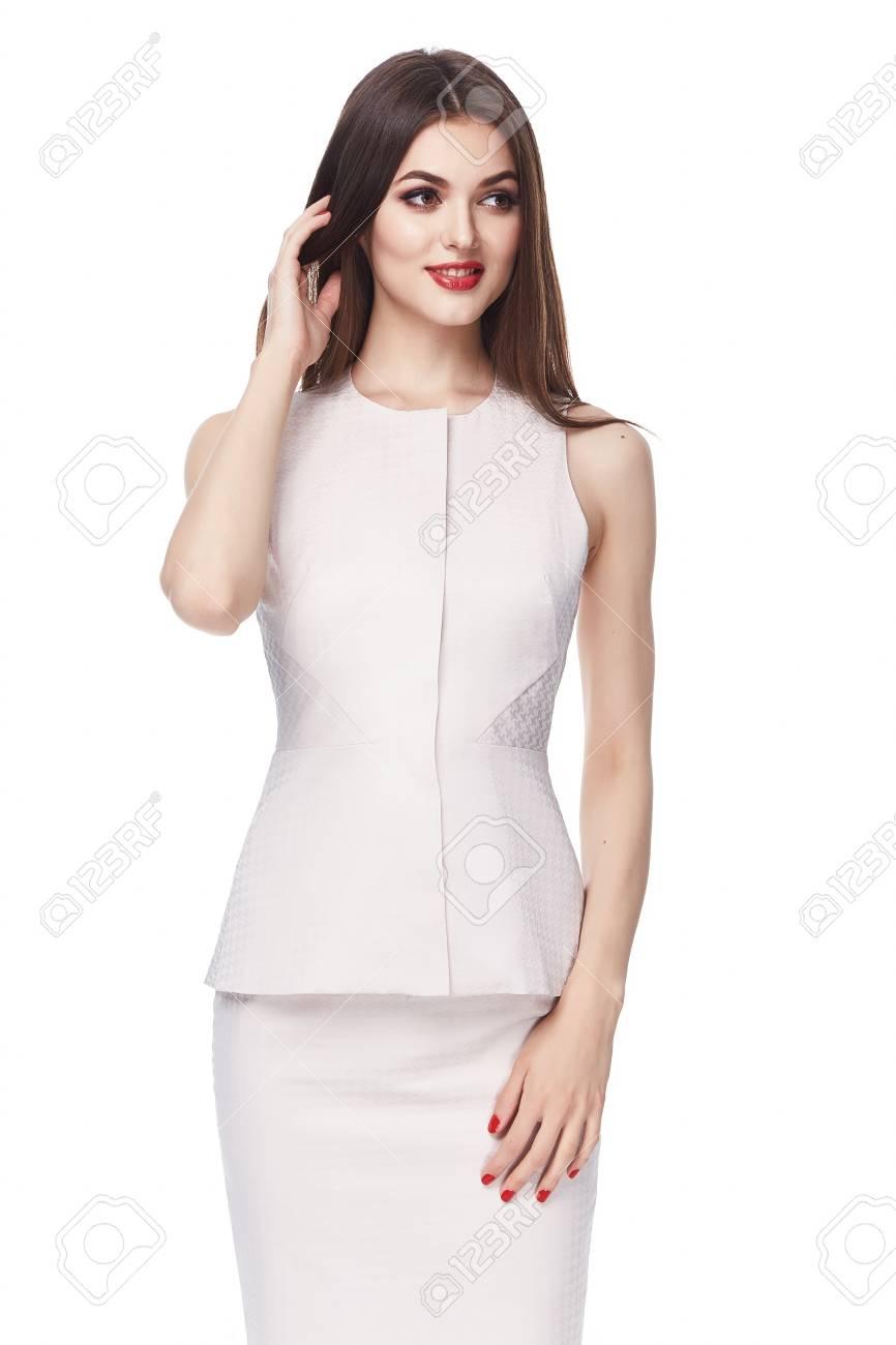 Schöne Glamour Sexy Frau Dunkel Brünette Haare Lang Seide Oder ...