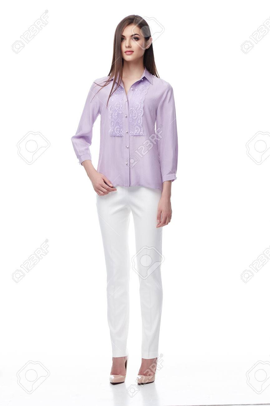 0e51811729581 Beautiful sexy woman brunette long hair wear lilac silk blouse and white  cotton pants shoes