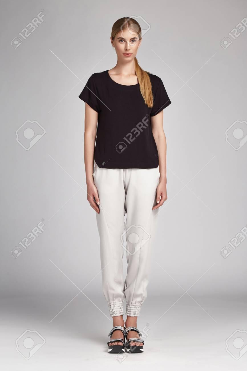 Sexy Schöne Glamour Frau Schöne Blonde Haare Natürlichen Make Up