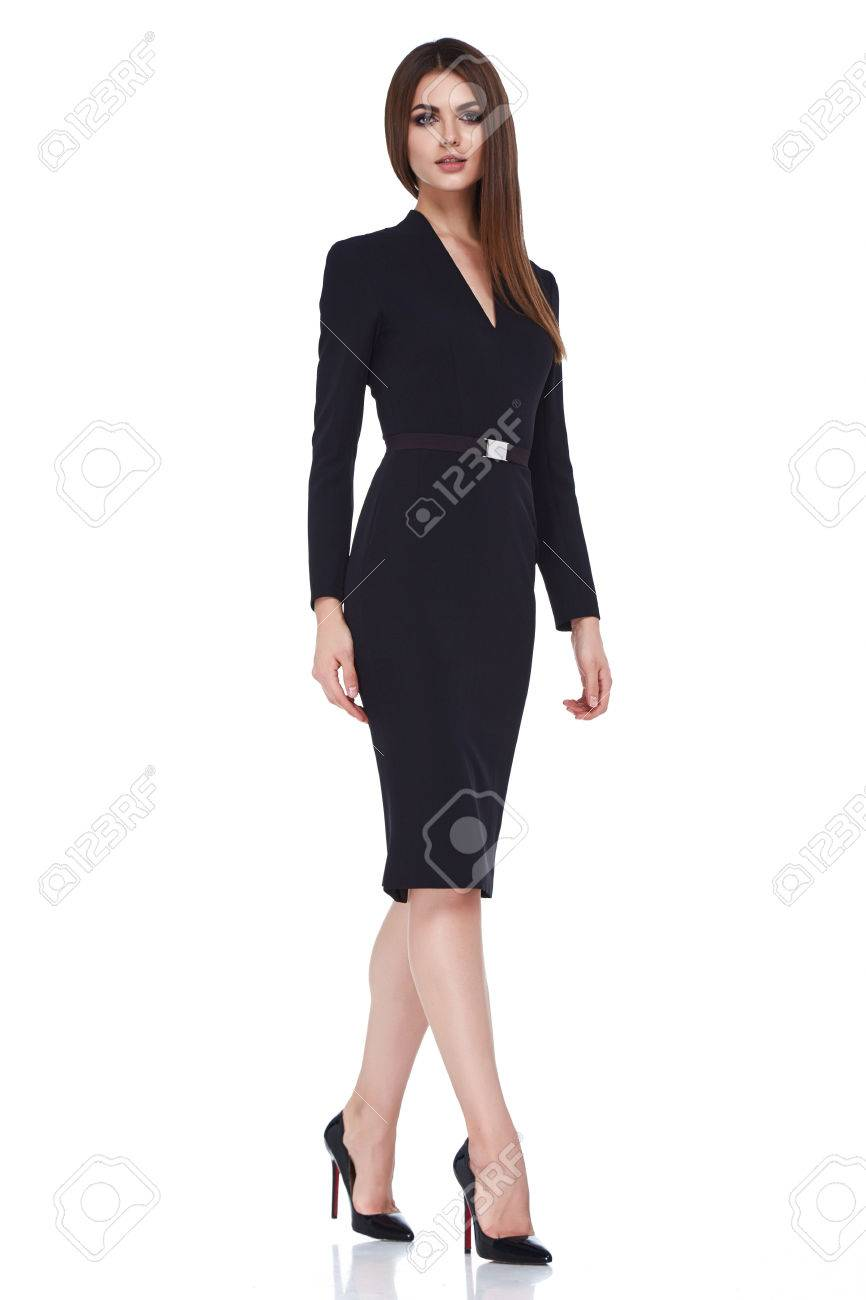 Beautiful brunette woman business office style fashion clothes summer fall collection perfect body shape pretty face makeup smile wear black dress blouse skirt casual accessory glamour model. - 65354266