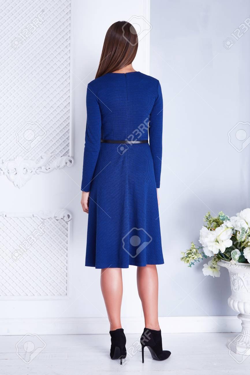 Vestidos elegantes azul con blanco