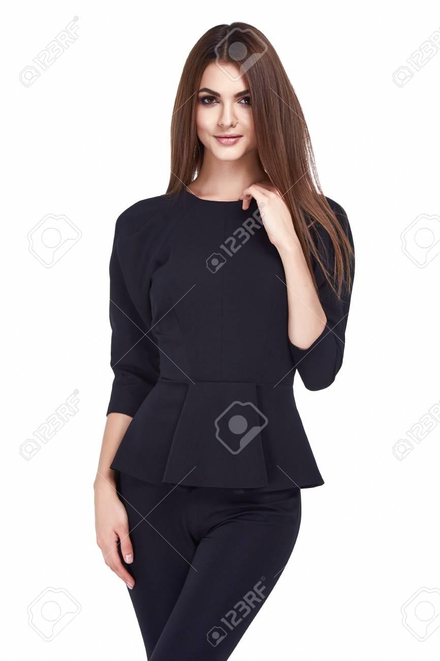 2a91c01c24a4c Portrait of beautiful business woman lady style perfect body shape brunette  hair wear light color suit