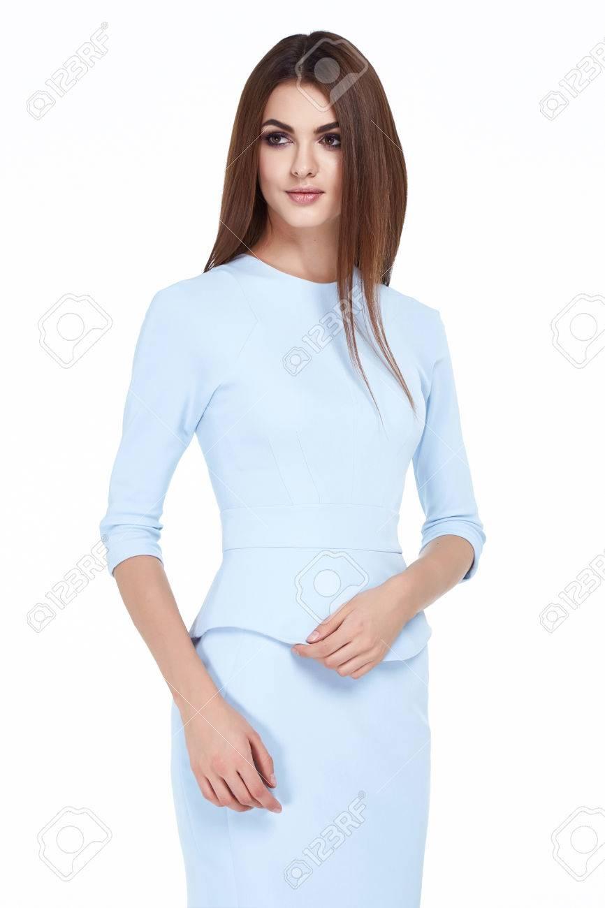 ... De Visita Flaca Del Protocolo Diplomático Oficina Uniforme De Color  Azul Forma De Cuerpo Perfecto Ocupada Glamour Dama Estilo Casual Traje De  Etiqueta ... d9da83e194b6