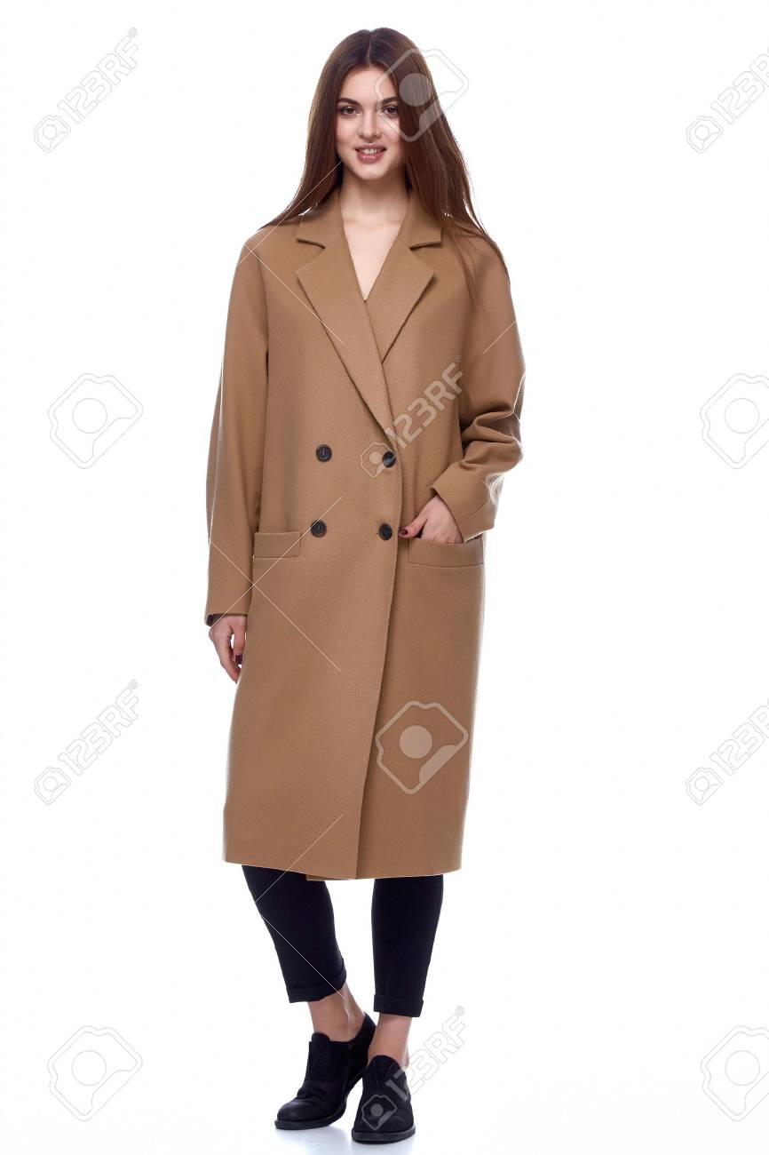 Business Woman Wear Casual Clothes Style For Winter Autumn Fashion Model Natural Wool Coat Brunette Hair