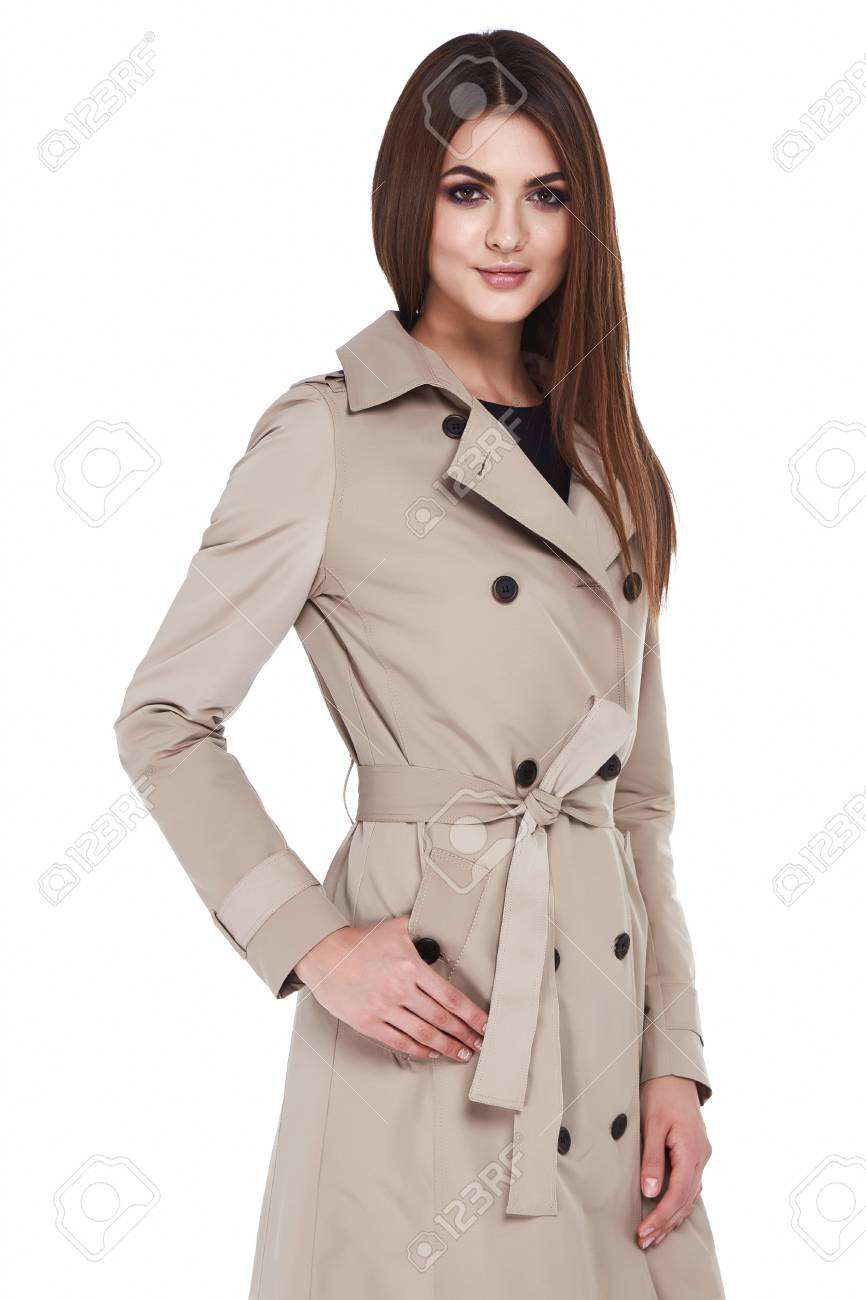 b59c11d3 Beauty woman model wear stylish design trend clothing natural organic  cotton coat trench dress outerwear casual