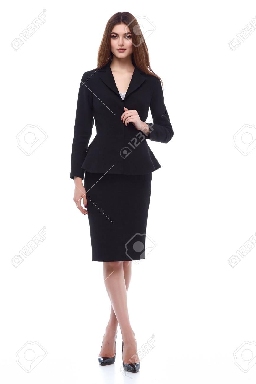 Fashion style woman perfect body shape brunette hair wear black dress suit elegance casual beautiful model secretary air hostess diplomatic protocol office uniform stewardess business lady. - 69556084