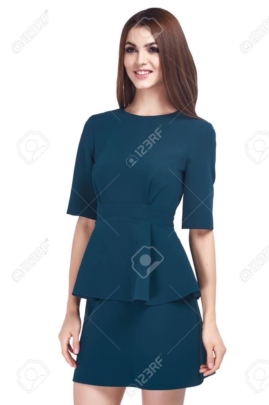 Modelo De Mujer De Belleza Desgaste Estilo Elegante Diseño De Ropa Tendencia De Vestir Casual De Color Azul Formal De La Oficina Para La Reunión De