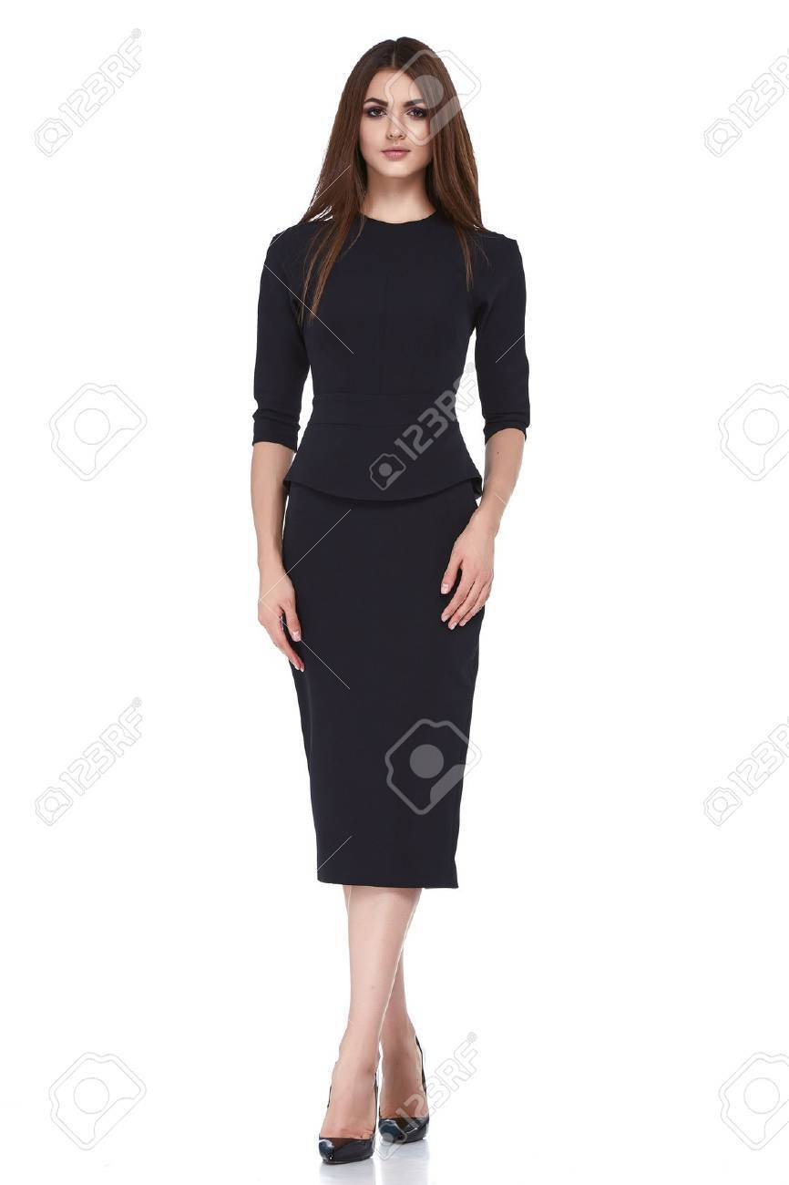Fashion style woman perfect body shape brunette hair wear black dress suit elegance casual beautiful model secretary air hostess diplomatic protocol office uniform stewardess business lady. - 69534674