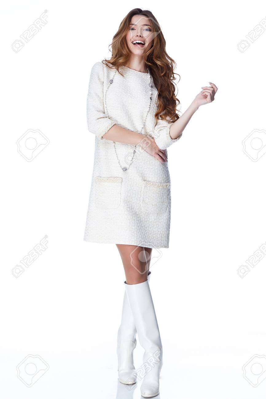 Woman In White Short Dress Fashion Catalog Clothing Beauty Cute