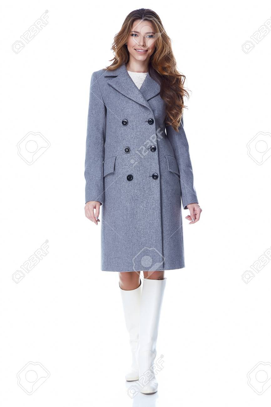 Business Woman Wear Casual Clothes Style For Winter Autumn Fashion Model Natural Gray Wool Cashmere Coat