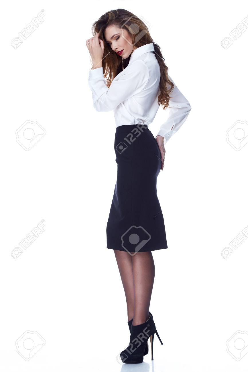 59a0b58d7 Sexy brunette woman skinny business style dress skirt blouse perfect body  shape diet busy glamour lady