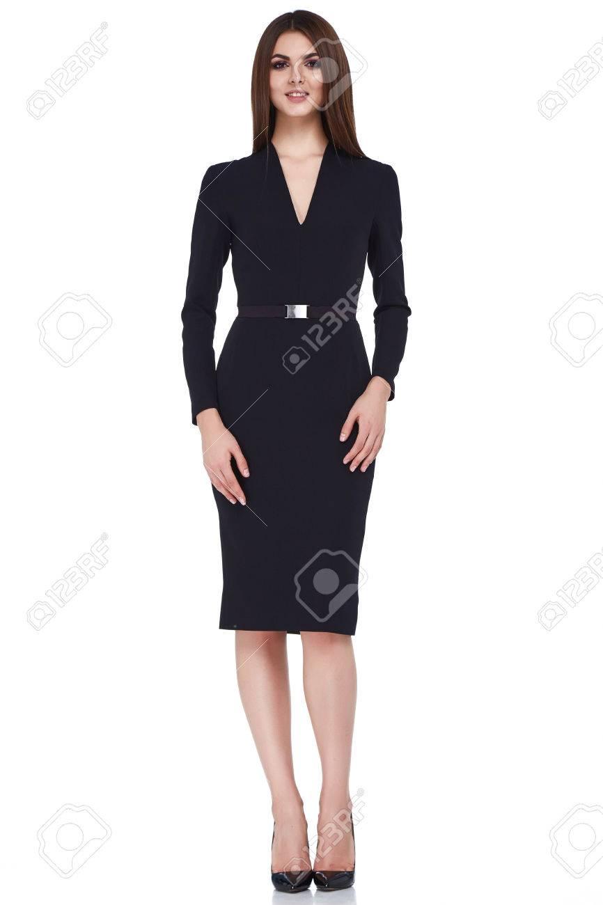 1d0160234c Foto de archivo - Mulher estilo de moda do cabelo do corpo perfeito forma  morena usar vestido terno preto elegância casual bela modelo secretário  aeromoça ...