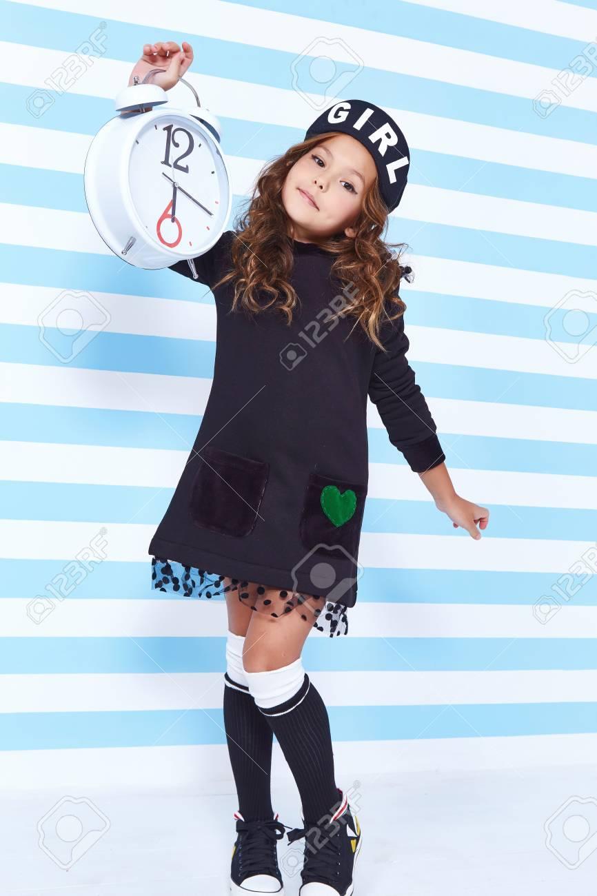 Beautiful Cute Pretty Little Girl Baby Blond Curly Hair Fun To ...